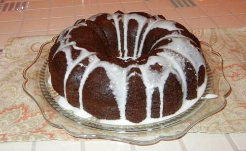 Cake is served on my grandma's glass cake plate