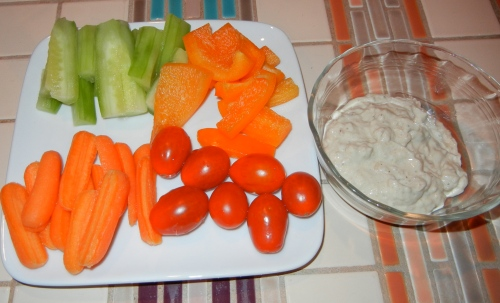 onion dip with veggies